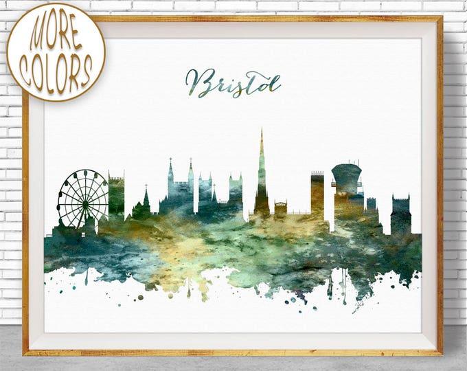 Bristol Skyline, Bristol Print, Bristol United Kingdom, Office Decor, Office Art, Watercolor Skyline, Watercolor City Prints, ArtPrintZone