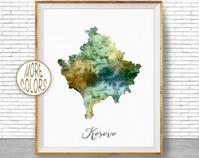 Kosovo Map Art Kosovo Print Watercolor Map Map Painting Map Artwork  Office Decorations Country Map ArtPrintZone