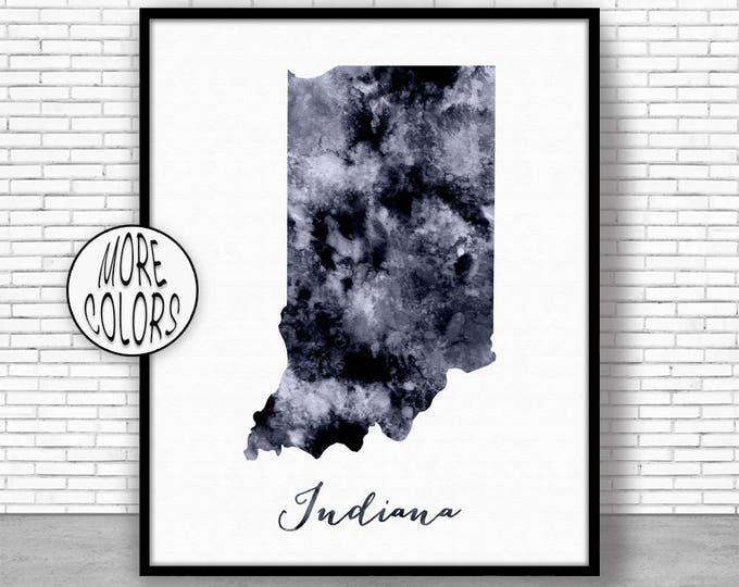 Indiana Decor Indiana Art Print Indiana Print Indiana Map Art Print Map Artwork Map Print Map Poster Watercolor Map ArtPrintZone