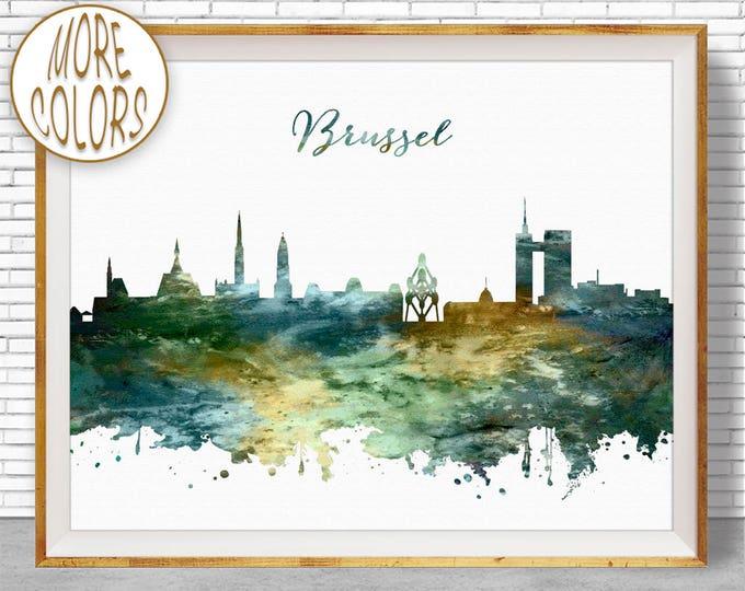Brussel Print, Brussel Belgium, Brussel Skyline, Office Decor, Office Art, Watercolor Skyline, Watercolor City Prints, ArtPrintZone