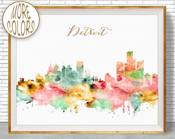 Detroit Print Detroit Art Detroit Skyline Detroit Michigan Office Decor Office Art Watercolor Skyline Watercolor City Print ArtPrintZone