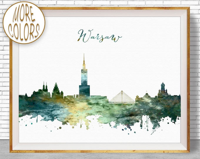 Warsaw Print, Warsaw Skyline, Warsaw Poland, Office Wall Art, City Skyline Prints, Skyline Art, Cityscape Art, ArtPrintZone