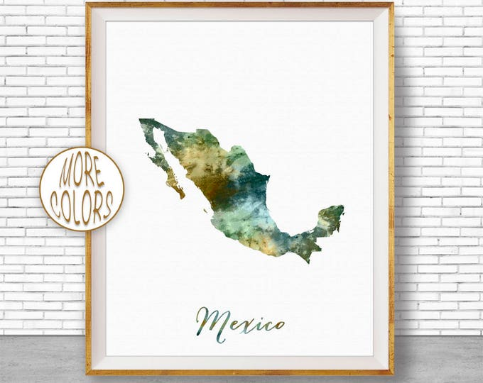 Mexico Art Print Mexico Print Office Art Print Watercolor Map Mexico Map Print Map Art Office Decorations Country Map ArtPrintZone