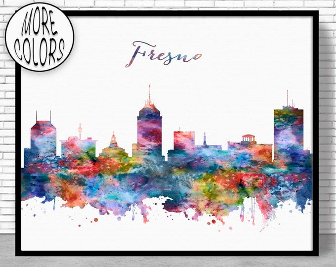 Fresno Skyline Fresno Print Fresno California Office Decor City Wall Art Watercolor Skyline Watercolor City Print ArtPrintZoneGift for Women
