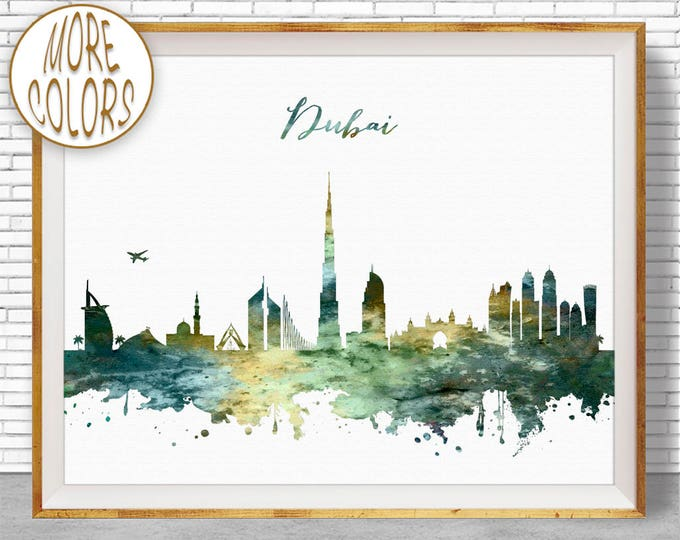 Dubai Print, Watercolor Skyline, Dubai Skyline, Dubai UAE, Office Decor, City Wall Art, Watercolor City Print, ArtPrintZone