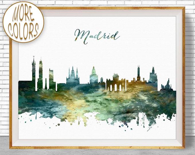 Madrid Print, Madrid Skyline, Madrid Spain, Office Decor, Office Art, City Skyline Prints, Skyline Art, Cityscape Art, ArtPrintZone