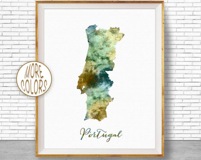 Portugal Map Art Portugal Print Watercolor Map Map Painting Map Artwork  Office Decorations Country Map ArtPrintZone