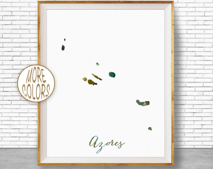 The Azores Map Print, Azores Print, Azores Art Print, Azores Watercolor Print Wall Art Prints ArtPrintZone