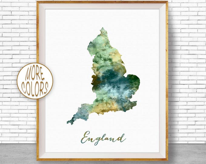 England Map Art England Print Watercolor Map Map Painting Map Artwork  Office Decorations Country Map ArtPrintZone