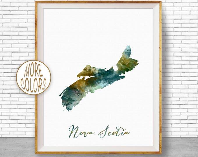 Nova Scotia Art Office Art Print Watercolor Map Nova Scotia Map Print Map Art Office Decorations Country Map ArtPrintZone