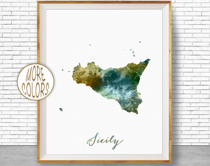 Sicily Print, Sicily Map Art, Italian Islands, Sicily Italy Watercolor Map Map Painting Office Decorations Country Map ArtPrintZone