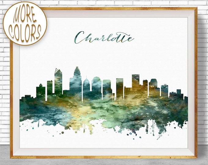 Charlotte Skyline Charlotte NC City Scape Charlotte Print Office Decor Office Art Watercolor Skyline Watercolor City Art ArtPrintZone