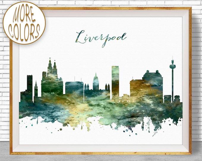 Liverpool Print, Liverpool Skyline Liverpool United Kingdom Office Decor Office Art, Watercolor Skyline, Watercolor City Print, ArtPrintZone