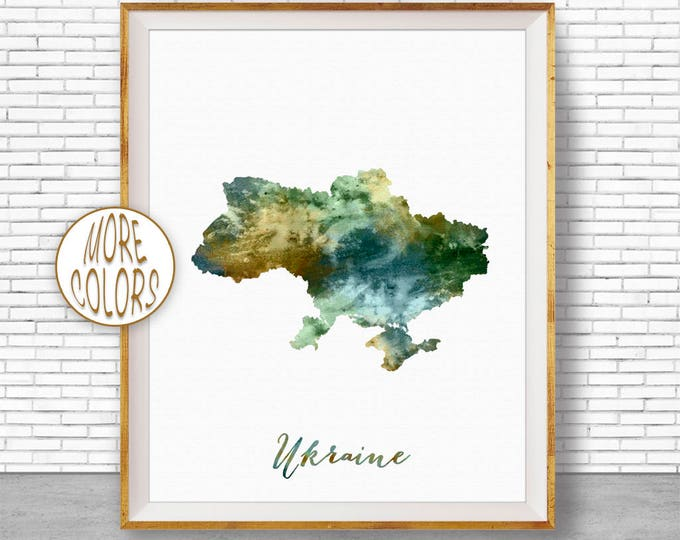 Ukraine Map Art Ukraine Print Watercolor Map Map Painting Map Artwork  Office Decorations Country Map ArtPrintZone