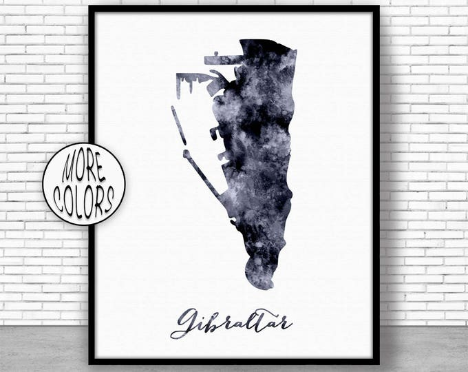 Gibraltar Print Watercolor Map Gibraltar Map Art Map Painting Map Artwork  Office Decorations Country Map ArtPrintZone