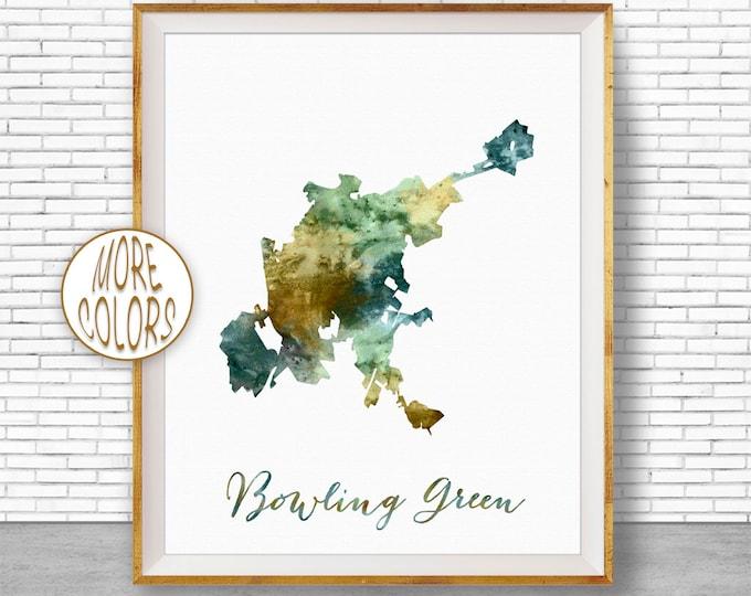 Bowling Green City Map, Office Decor, Bowling Green Print, Office Art, Watercolor City Map, Watercolor City Print, ArtPrintZone
