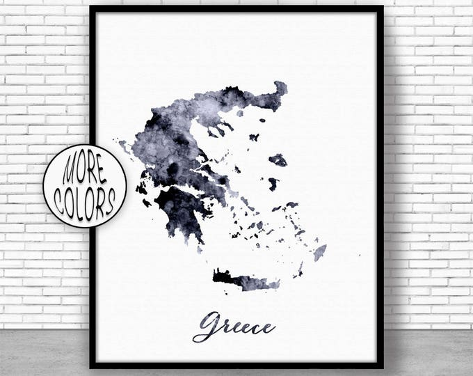 Greece Print Watercolor Map Greece Map Art Map Painting Map Artwork  Office Decorations Country Map ArtPrintZone