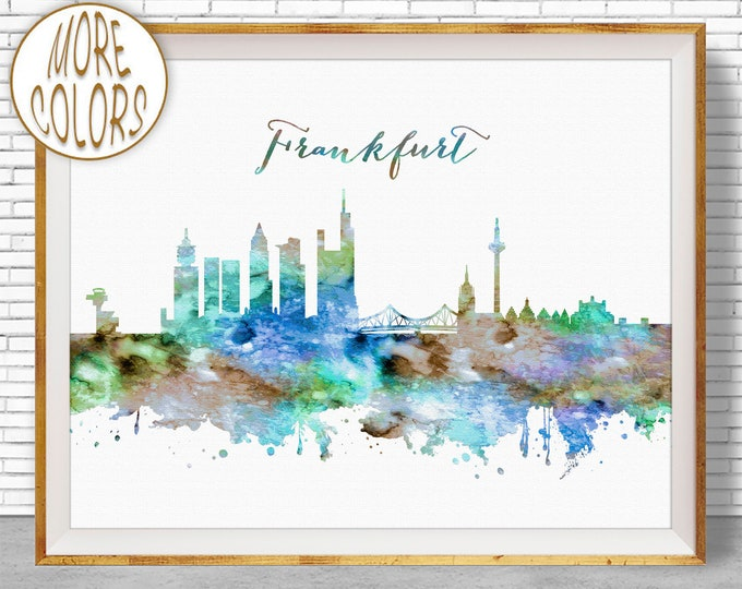 Frankfurt Print, Frankfurt Skyline, Frankfurt Germany, Office Decor, Office Art, Watercolor Skyline, Watercolor City Print, ArtPrintZone