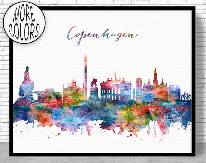 Copenhagen Skyline, Copenhagen Print, Copenhagen Denmark, Office Decor, Office Art, Travel Art, Watercolor City Print, ArtPrintZone