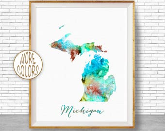 Michigan Map Etsy
