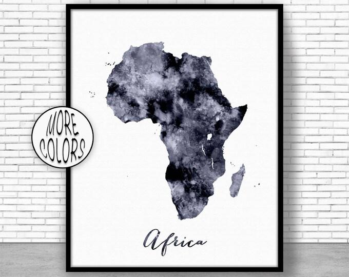 Africa Map Africa Print Africa Continent Map of Africa Map Wall Art Print Travel Map Travel Decor Office Decor Office Wall ArtGift for Women