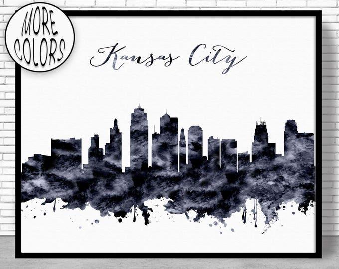 Kansas City Print Kansas City Skyline Kansas City Missouri Office Decor Office Art Watercolor Skyline City Prints ArtPrintZoneGift for Women