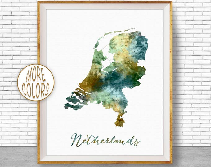 Netherlands Map Art The Netherlands Print Holland Print Map Artwork  Office Decorations Country Map ArtPrintZone
