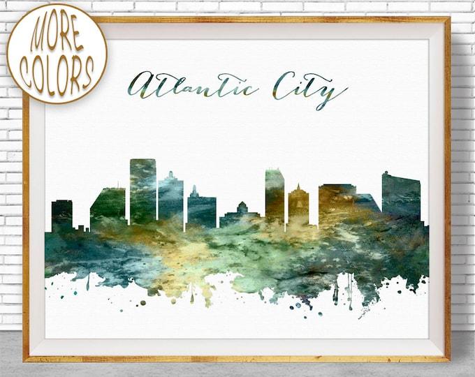 Atlantic City Print Atlantic City Skyline City Scape Office Decor Office Art Watercolor Skyline Watercolor City Print ArtPrintZone