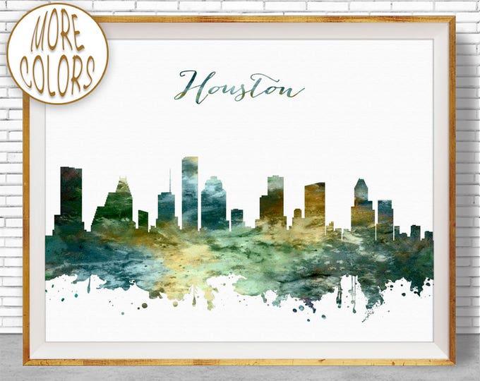 Houston Print Houston Skyline Houston Texas Office Gifts Office Wall Art Watercolor Skyline Watercolor City Print ArtPrintZoneGift for Women
