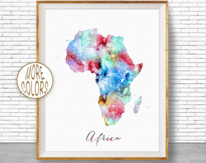 Map of Africa Africa Map Africa Print Africa Continent Map Wall Art Print Travel Map Travel Decor Office Decor Office Wall ArtGift for Women