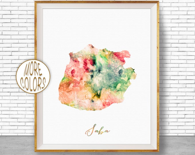 Saba Print, Saba Map Art, Caribbean Islands, Saba Watercolor Map Map Painting Office Decorations Country Map ArtPrintZone