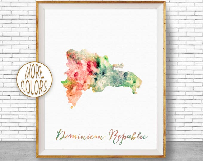 Dominican Republic Map Office Art Print Watercolor Map Map Print Map Art Map Artwork Office Decorations Country Map ArtPrintZone
