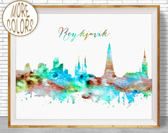Reykjavik Skyline, Reykjavik Print, Reykjavik Iceland, Office Decor, Office Art, Watercolor Skyline, Watercolor City Prints, ArtPrintZone