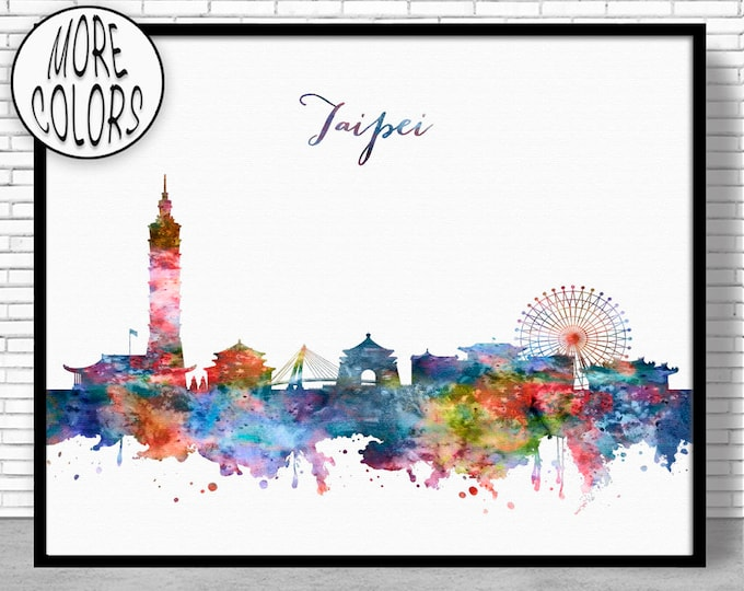 Taipei Print, Taipei Skyline, Taipei Taiwan, Office Decor, City Skyline Prints, Skyline Art, Cityscape Art, ArtPrintZone