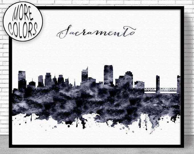 Sacramento Print Sacramento Skyline Sacramento California Office Decor City Skyline Prints Skyline Art ArtPrintZone