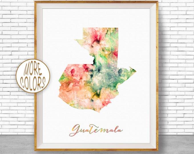 Guatemala Map Print Guatemala Print Office Art Print Watercolor Map Map Art Map Artwork Office Decorations Country Map ArtPrintZone