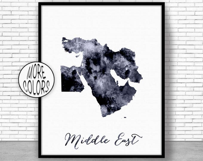 Middle East Map Middle East Print Middle East Art Map Wall Art Print Travel Map Travel Decor Office Decor Office Wall Art ArtPrintZone