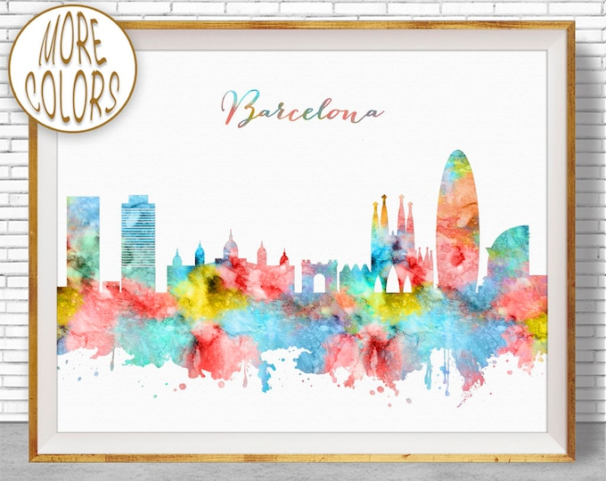Barcelona Print, Barcelona Spain, Barcelona Skyline, Office Decor, Office Art, Watercolor Skyline, Watercolor City Posters, ArtPrintZone