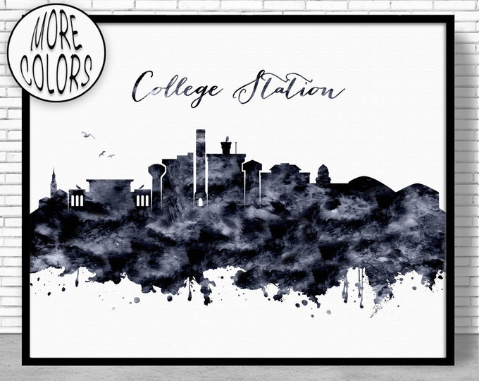 College Station Print College Station Texas Office Decor Office Wall Art Watercolor Skyline Watercolor City Print ArtPrintZoneGift for Women