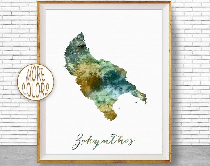 Zakynthos Print, Zakynthos Map Art, Greek Islands, Zakynthos Greece Watercolor Map Map Painting Office Decorations Country Map ArtPrintZone