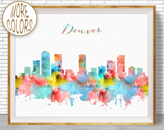 Denver Art Denver Skyline Denver Print Denver Colorado Office Decor Office Art Watercolor Skyline Watercolor City Print ArtPrintZone