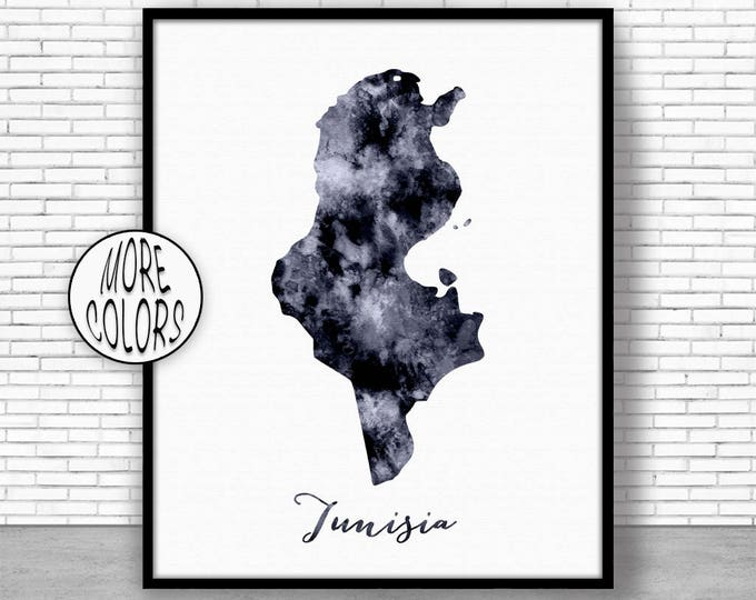Tunisia Print Travel Map Tunisia Map Print Travel Decor Travel Prints Living Room Wall Art Office Pictures ArtPrintZone