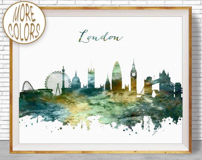 London Skyline, London Print, London United Kingdom, Office Decor, Office Art, Watercolor Skyline, Watercolor City Print, ArtPrintZone