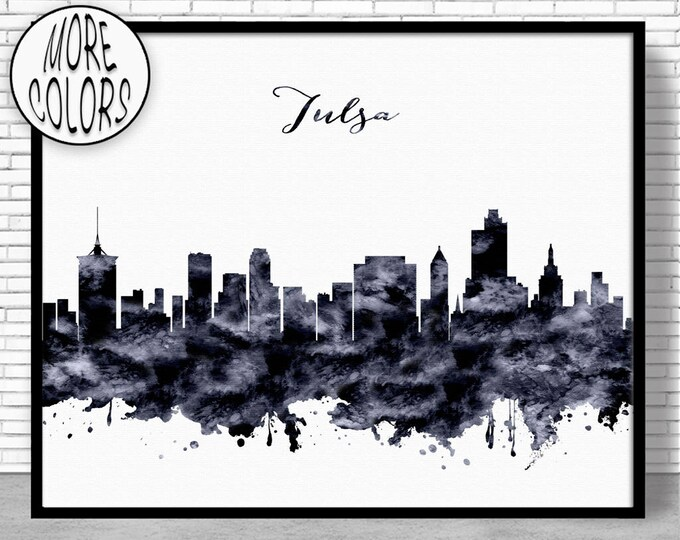 Tulsa Print Tulsa Skyline Tulsa Oklahoma City Wall Art Office Decor City Skyline Prints Skyline Art Office Poster ArtPrintZone
