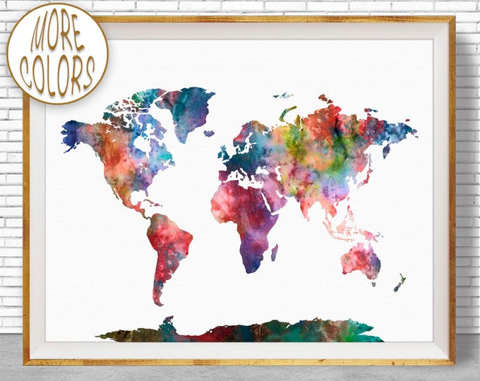 World Print World Map Print World Map Wall Art World Map Poster Office Prints Office Art Travel Poster Travel Art Prints ArtPrintZone