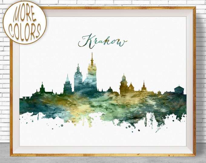 Krakow Skyline, Krakow Print, Krakow Poland, Office Decor, Office Art, Watercolor Skyline, Watercolor City Prints, ArtPrintZone