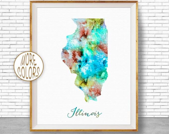 Illinois State Illinois Decor Illinois Print Illinois Map Art Print Map Artwork Map Print Map Poster Watercolor Map ArtPrintZone