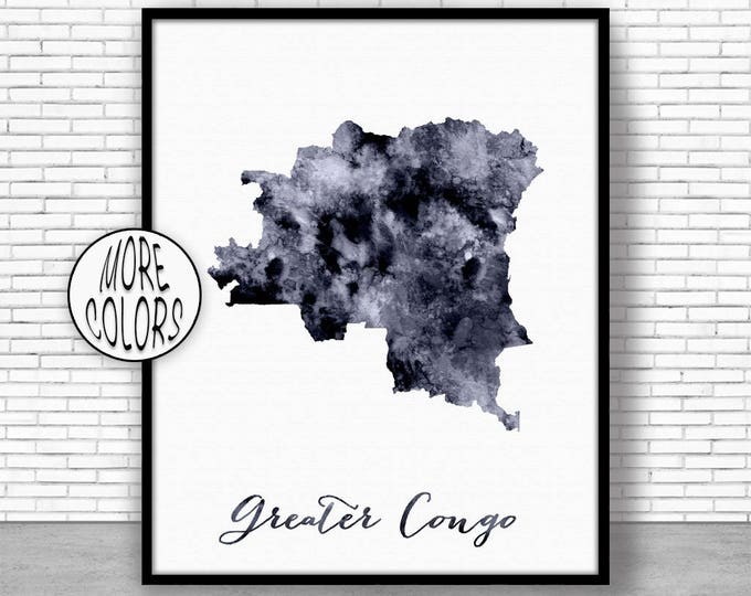 Greater Congo Print Watercolor Map Greater Congo Map Office Wall Decor Office Wall Art Living Room Art Map Decor Map Wall ArtPrintZone