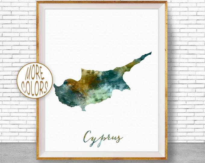 Cyprus Map Art Cyprus Print Watercolor Map Map Painting Map Artwork  Office Decorations Country Map ArtPrintZone