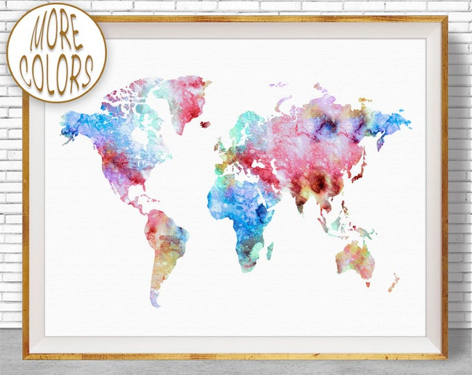 World Map Print World Map Wall Art World Print World Map Poster Office Prints Office Art Travel Poster Travel Art Prints ArtPrintZone